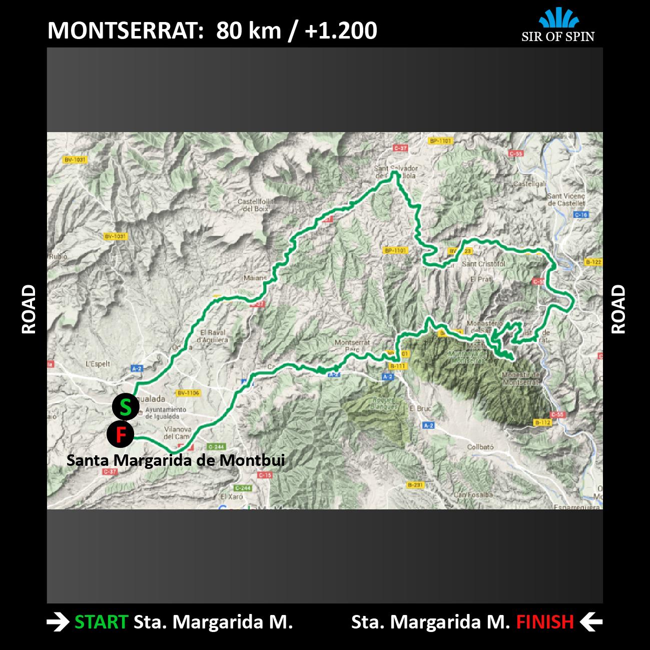 Mapa ruta MONTSERRAT ROAD TOUR