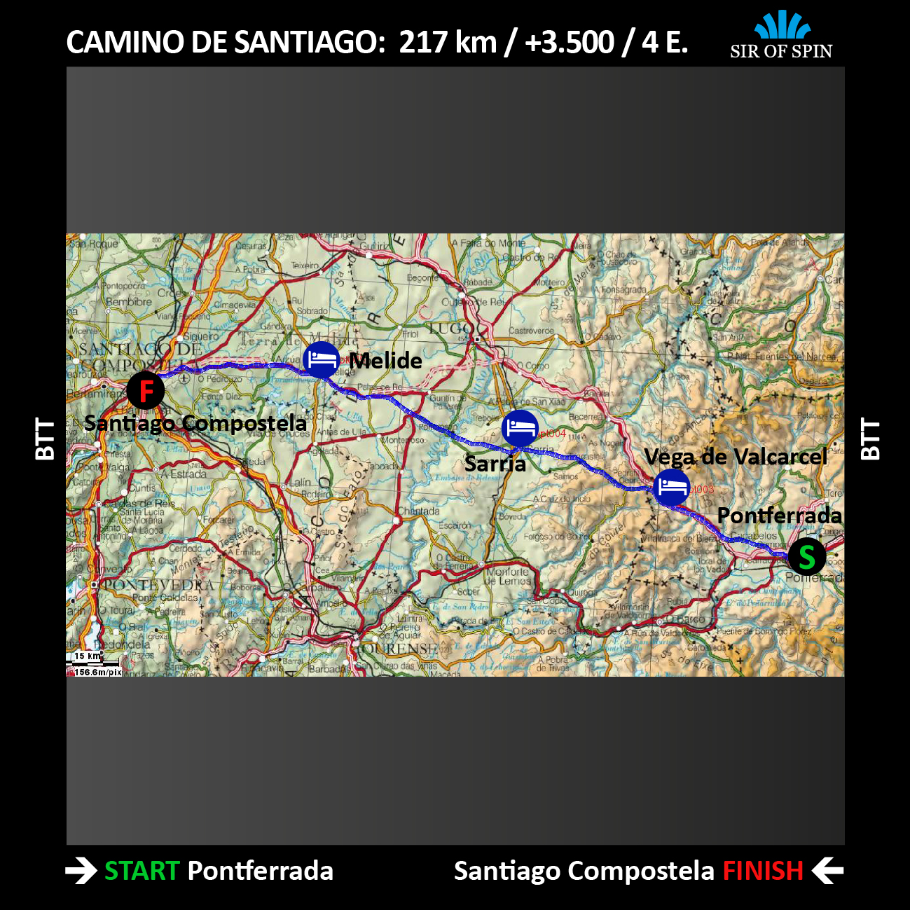 Mapa Ruta Camino de Santiago en MTB