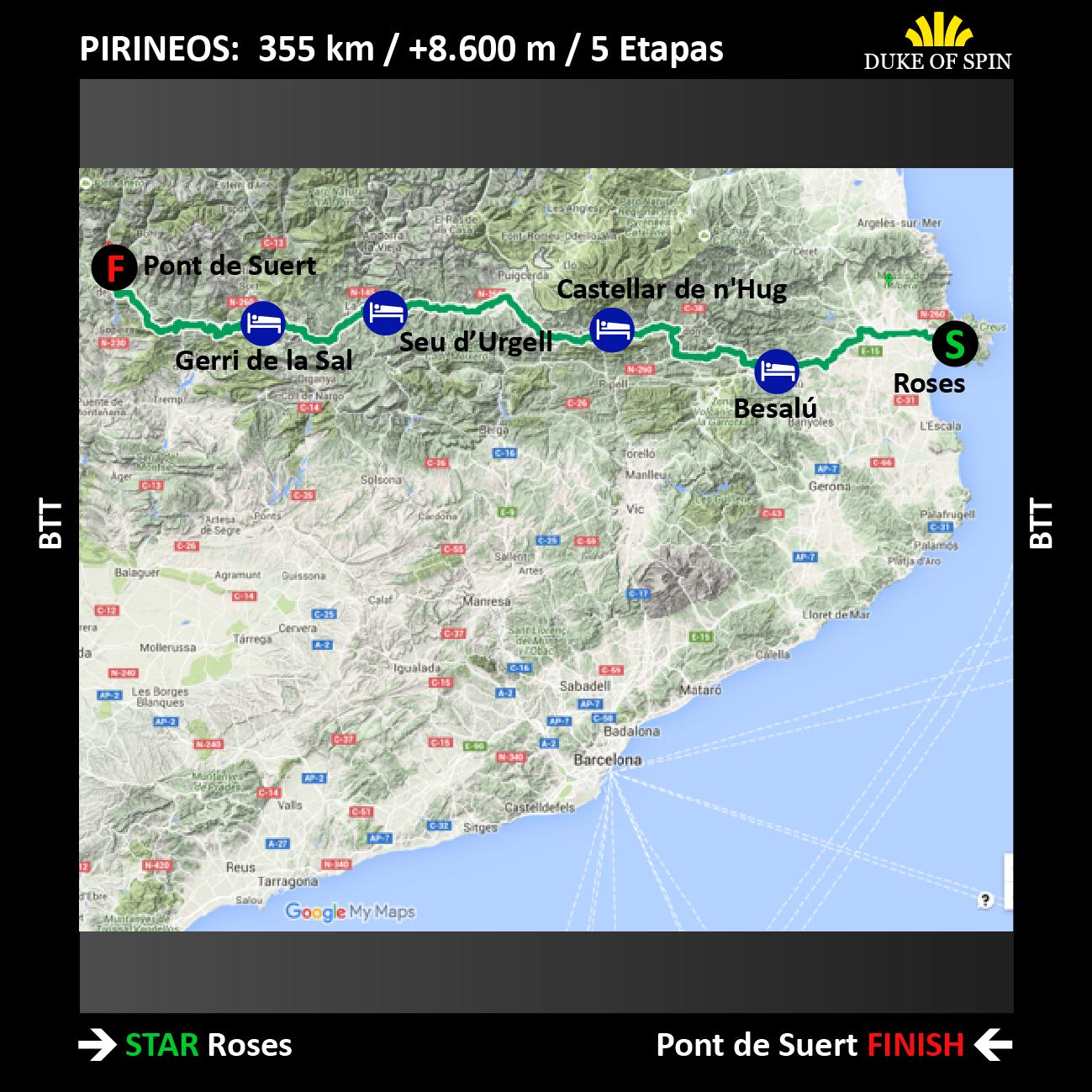 Mapa ruta Travesía de los Pirineos en MTB